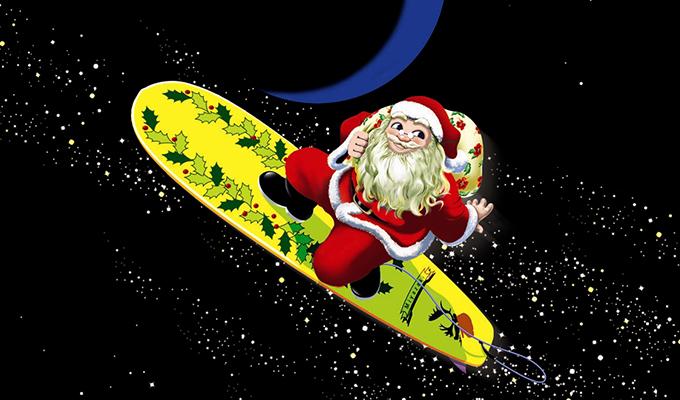 クリスマスチキンのサーフサンタ