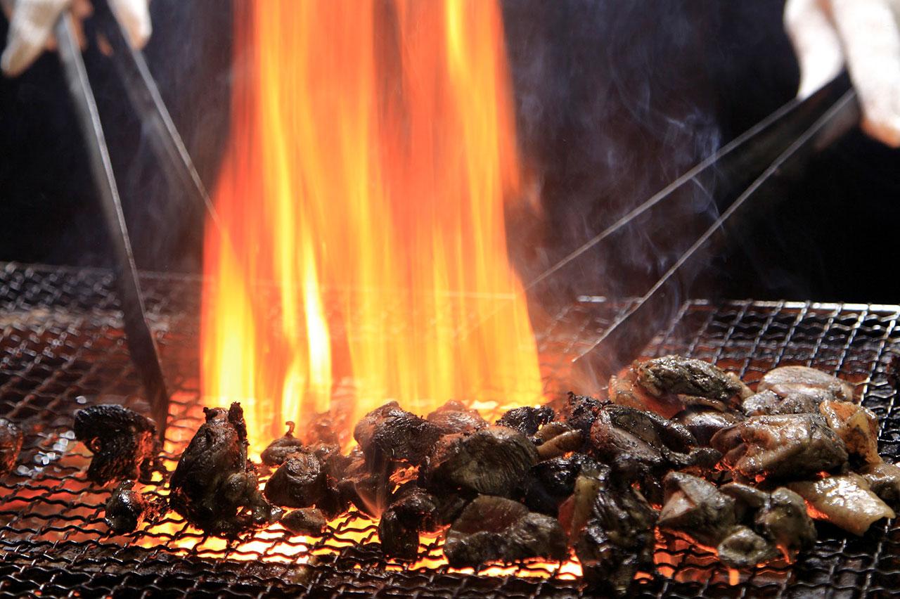 鶏炭火焼の製法