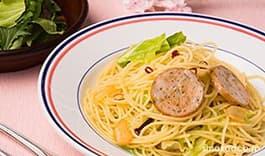 春キャベツとオリーブin 鶏ささみハムのペペロンチーノパスタ