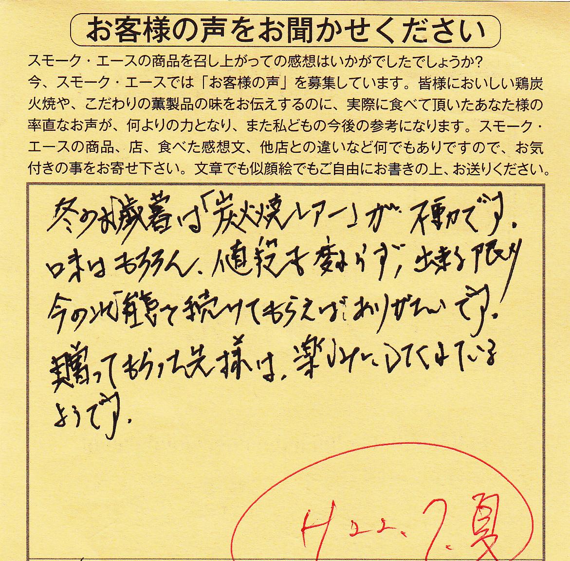 鶏炭火焼レアー|不動です。【No.99】