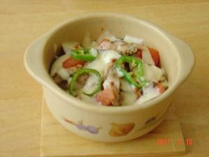 鶏せせり香草焼と野菜のチーズ焼き