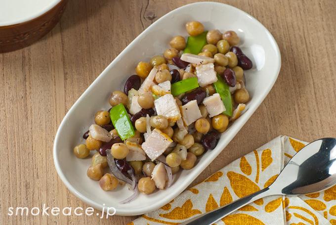 うまうまチキンロールと豆のサラダ